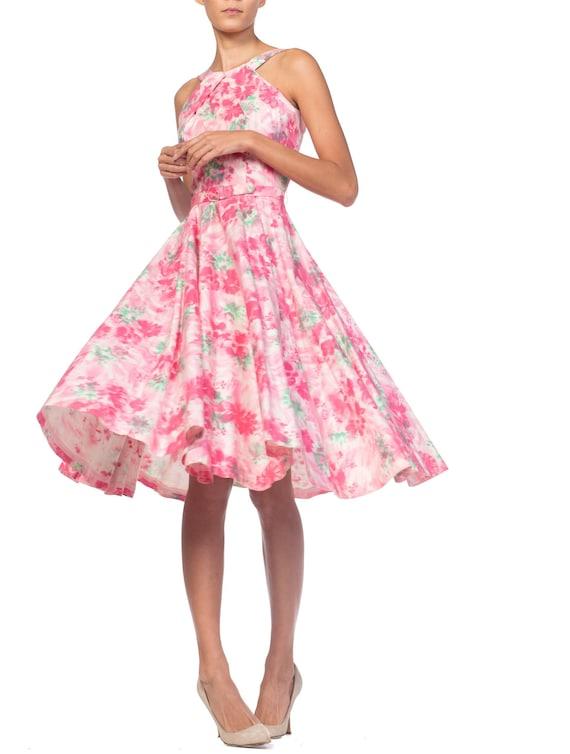 1950S Cotton Pastel Pink Watercolor Floral Circle