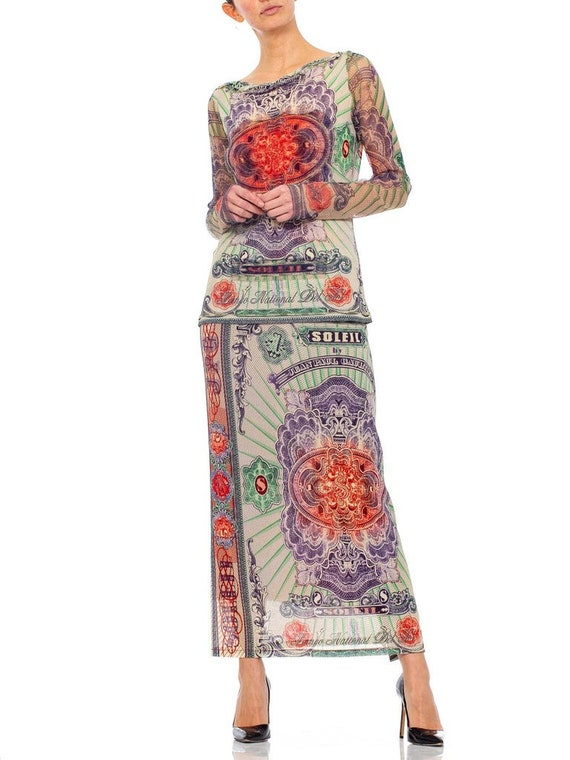 1990s JEAN PAUL GAULTIER Mesh Iconic Money Print … - image 6