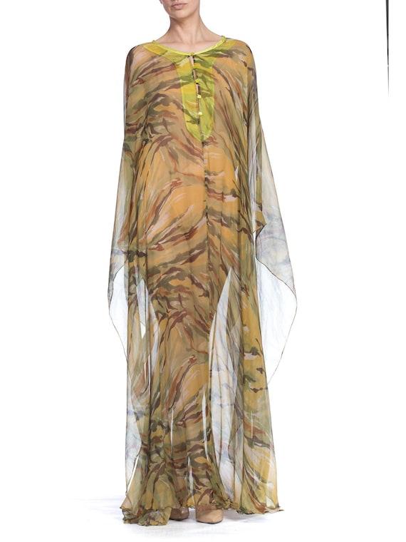 1990's  Romeo Gigli Sheer Silk Chiffon Kaftan Size