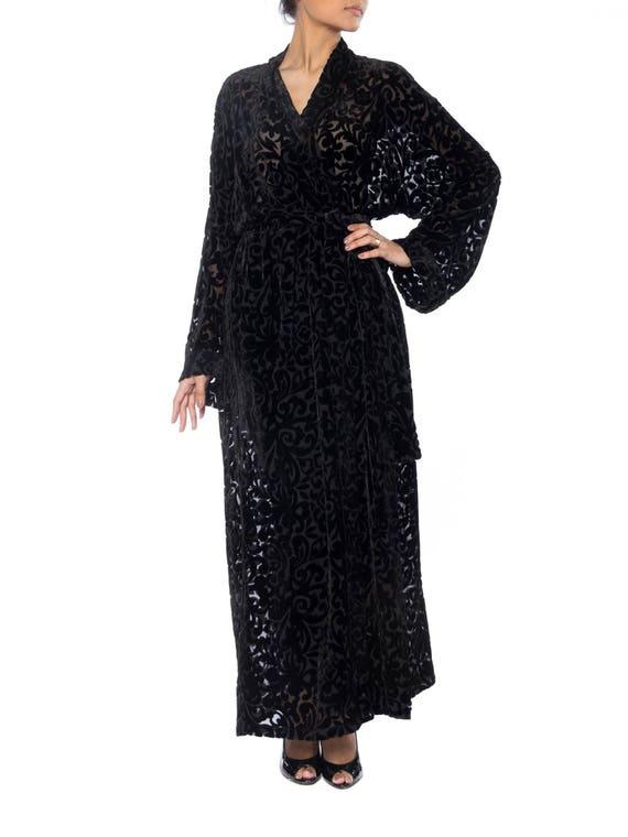 1920S Black Silk Burnout Velvet Wrap Robe With In… - image 1