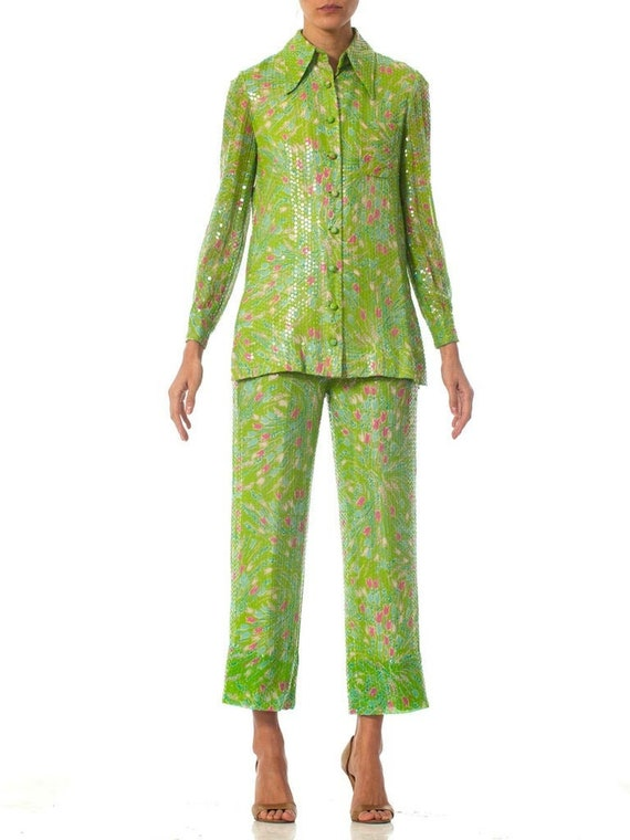 1970S Lime Green SequinedFloral Shirt  Pant Ensemb