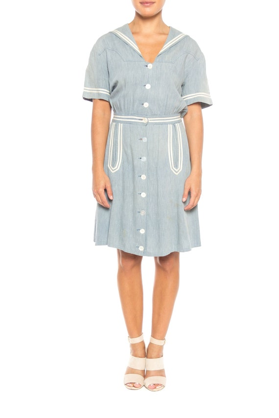 1930S Organic Cotton Chambray  Sailor Day Dress