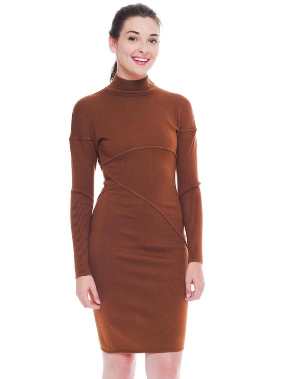 1980S AZZEDINE ALAIA Cinnamon Brown Wool Knit Turt