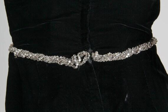1970S CEIL CHAPMAN Black Rayon & Silk Velvet Plun… - image 10