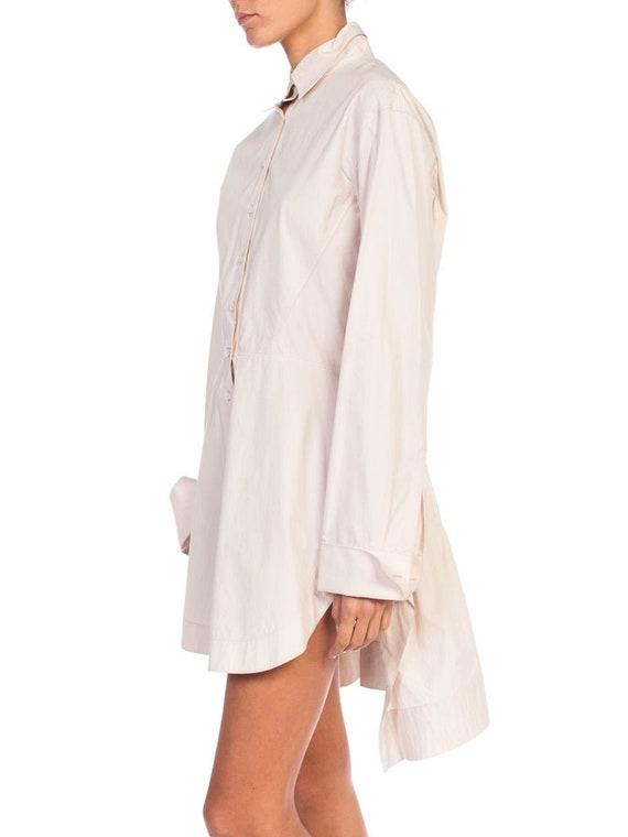 1990S AZZEDINE ALAIA Ecru Cotton Shirt Dress - image 2