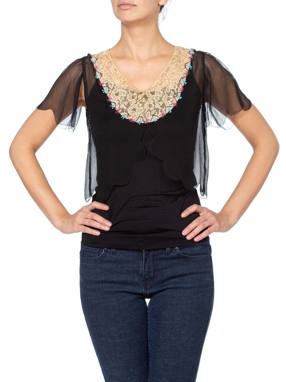 1920s Silk Chiffon and Lace Beaded Top - image 2
