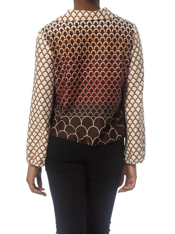 1960S Brown & Orange Polyester Jersey Geometric P… - image 4