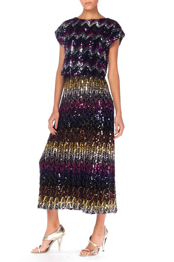 1970S Purple & Blue Sequined Polyester Knit Rainbo