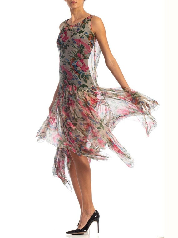 1920S Floral Silk Chiffon Summer Tea Party Dress - image 5