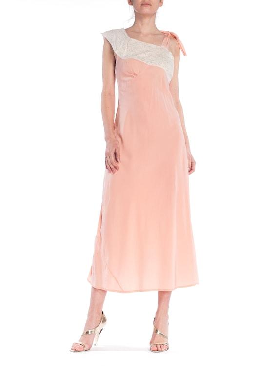 1930S Baby Pink Bias Cut Rayon & Lace Rare Unique