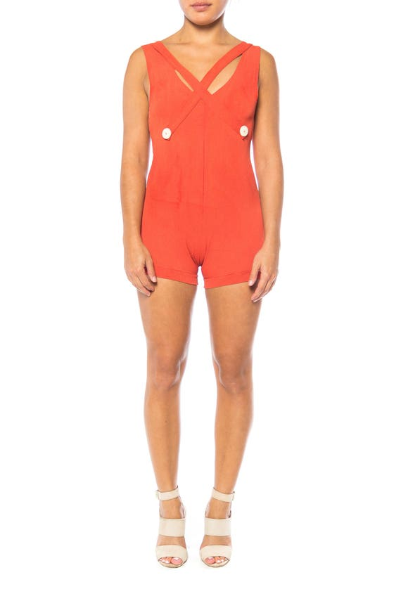 1930S Red Orange Rayon Bathing Suit With Buttons S