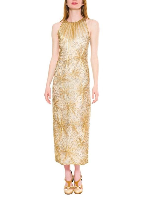 1970S Halston Gold Beaded Silk Firecracker Gown