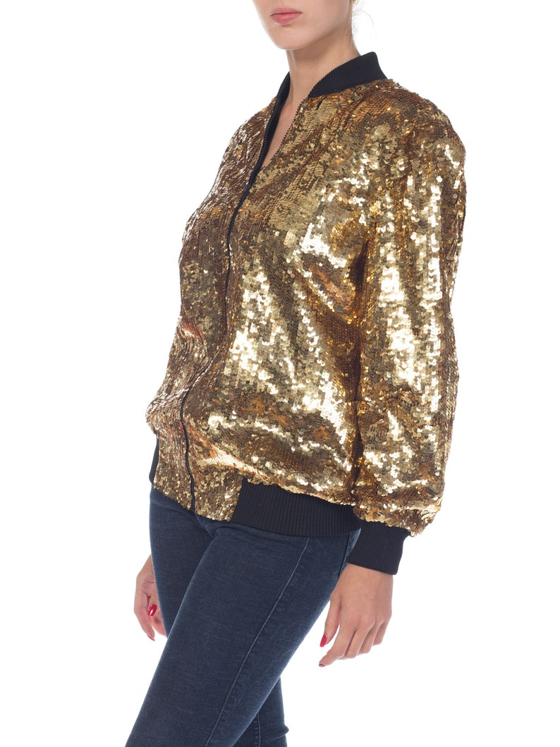 139a1a2c6 1980s Gold Sequined Bomber Jacket Size: M