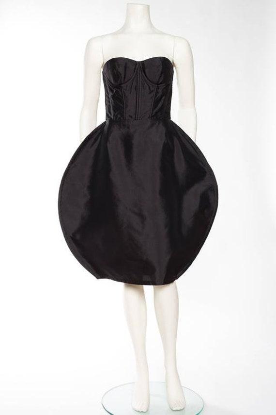 2000S Dolce  Gabbana Black Silk Twill Strapless Bu