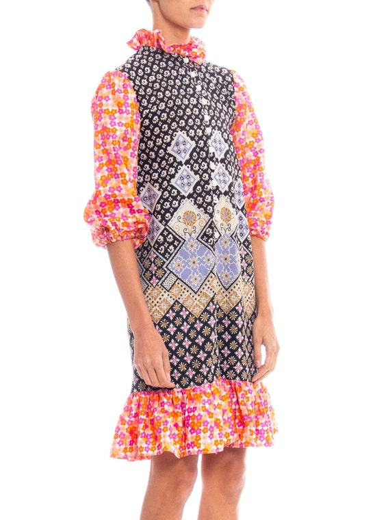 1960S Multicolor Patchwork Boho Printed Polyester… - image 1