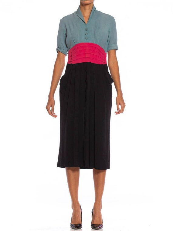 1940S Dusty Blue, Pink  Black Rayon Crepe Dress