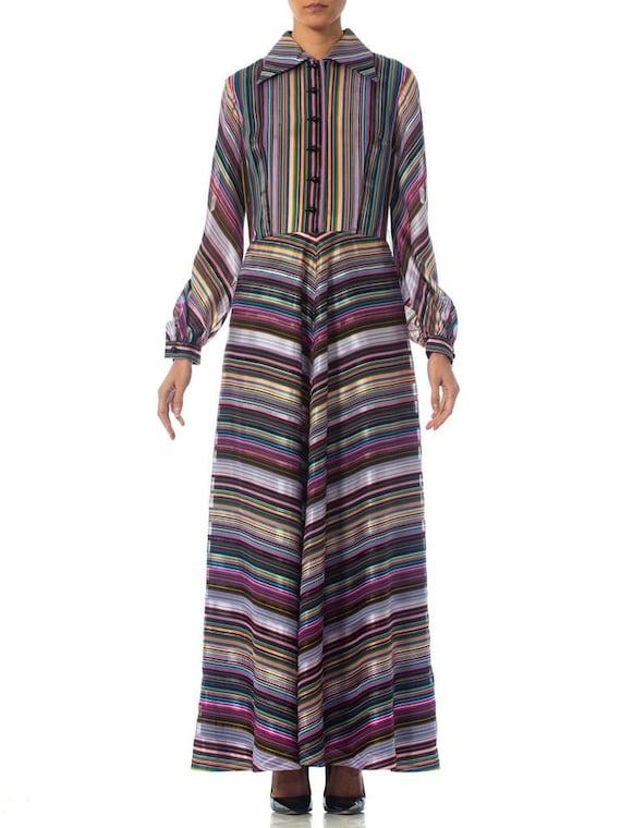 1970S Purple & Blue Striped Poly Blend Satin Long