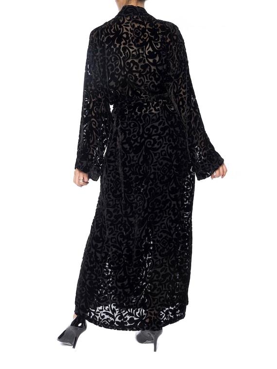 1920S Black Silk Burnout Velvet Wrap Robe With In… - image 4