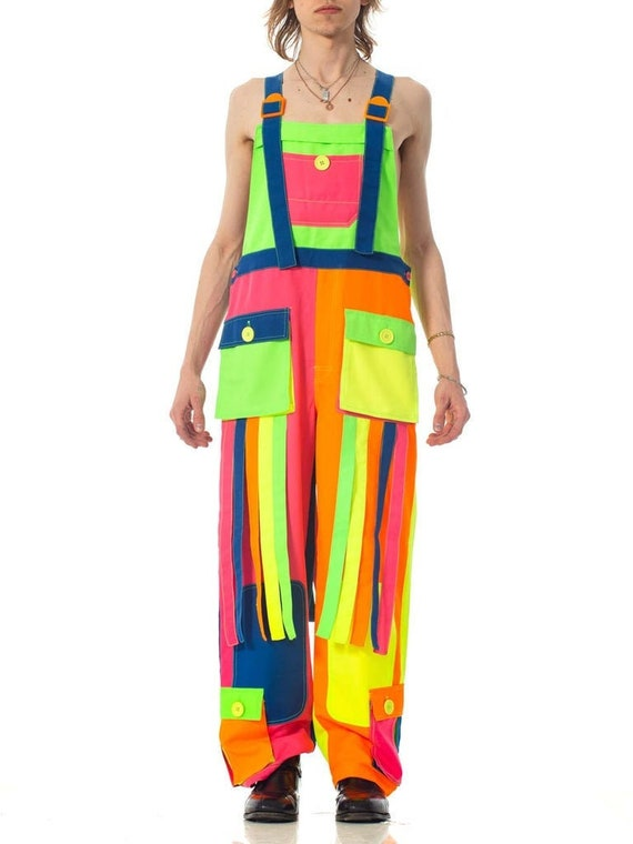1990S Rainbow Neon Polyester Rave Festival Overall