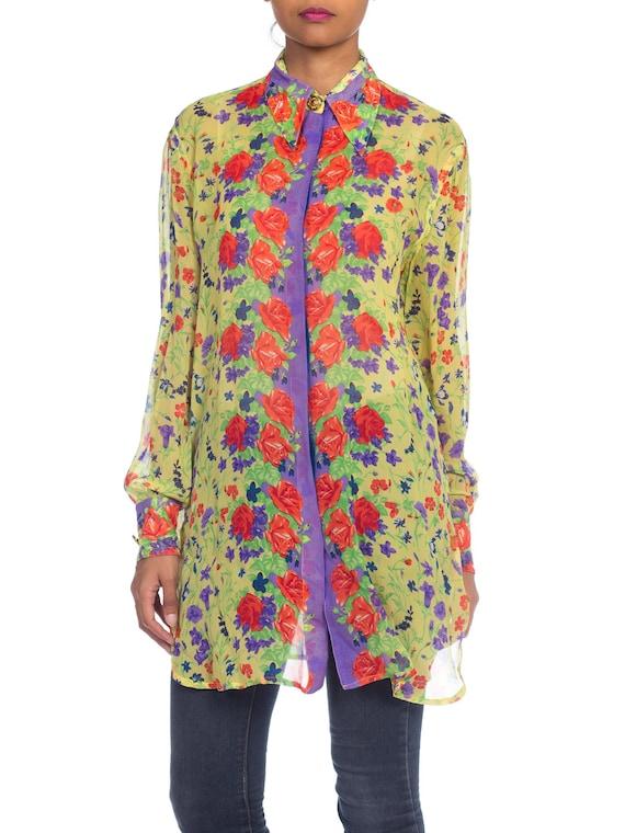 1990s-sheer Chiffon Gianni Versace Floral Boho Bl… - image 1