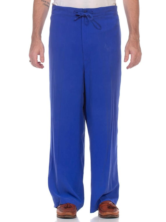 1990S Electric Blue Silk Pants