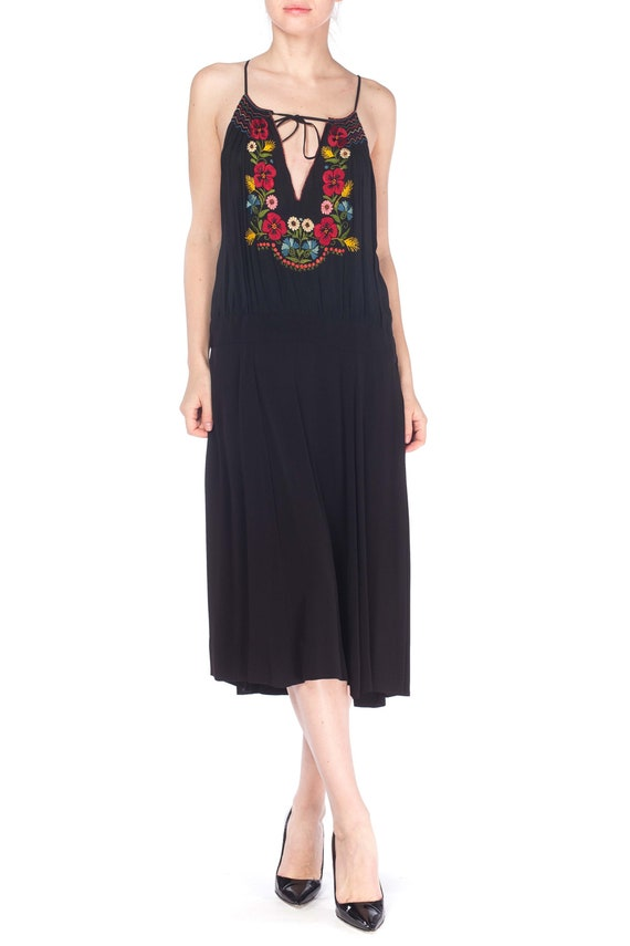 MORPHEW COLLECTION Black Rayon Bohemian Embroidere