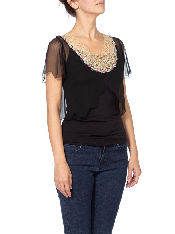 1920s Silk Chiffon and Lace Beaded Top - image 8