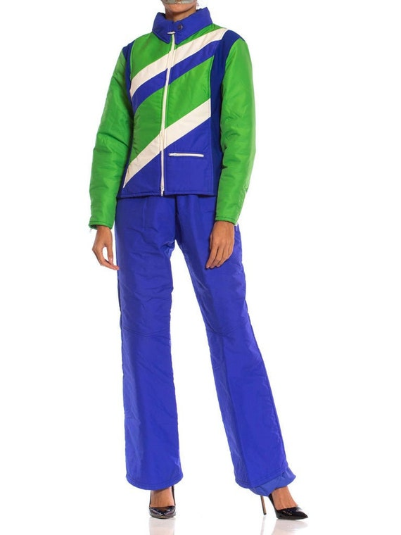 1970S Blue  Green Nylon Austrian Mod Ski Jacket Pa