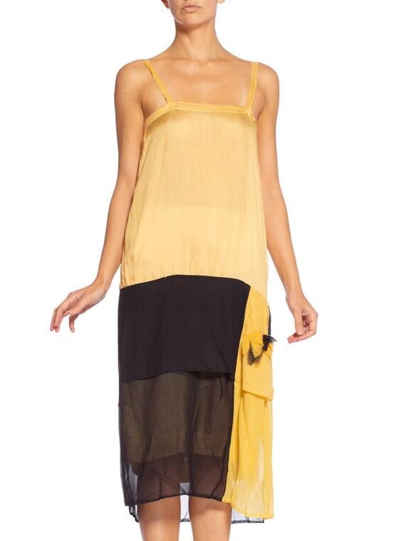 1920's Yellow & Black Silk Chiffon Dress - image 7