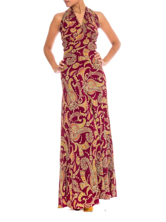 1930S Cranberry Red Paisley Rayon Backless Bias Cu