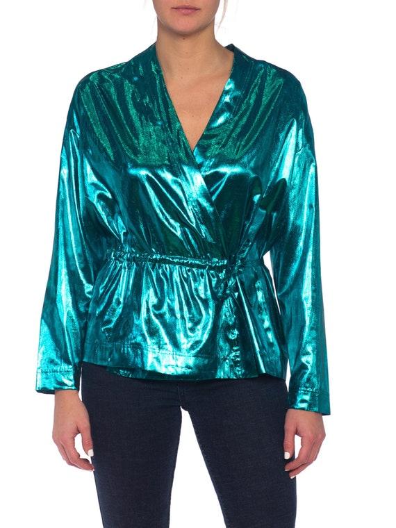 1980S Teal Lamé Gucci Style Disco Wrap Top