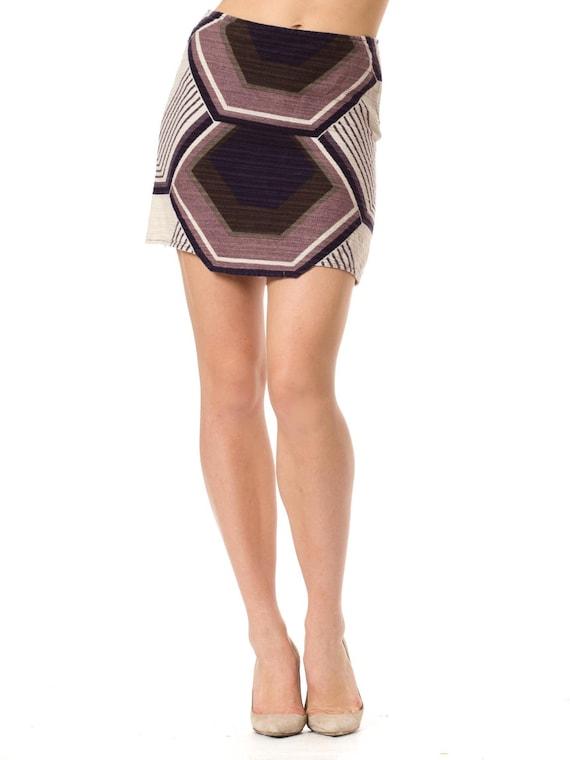 1960s Vintage Geometric Print Wool Mini Skirt  Siz