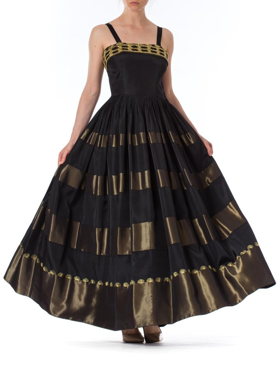1940S Black & Gold Rayon Taffeta Ball Gown With Ha