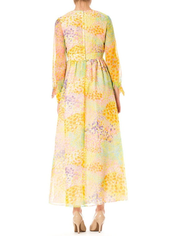 1970S Multicolor Psychedelic Polyester Chiffon Ma… - image 5