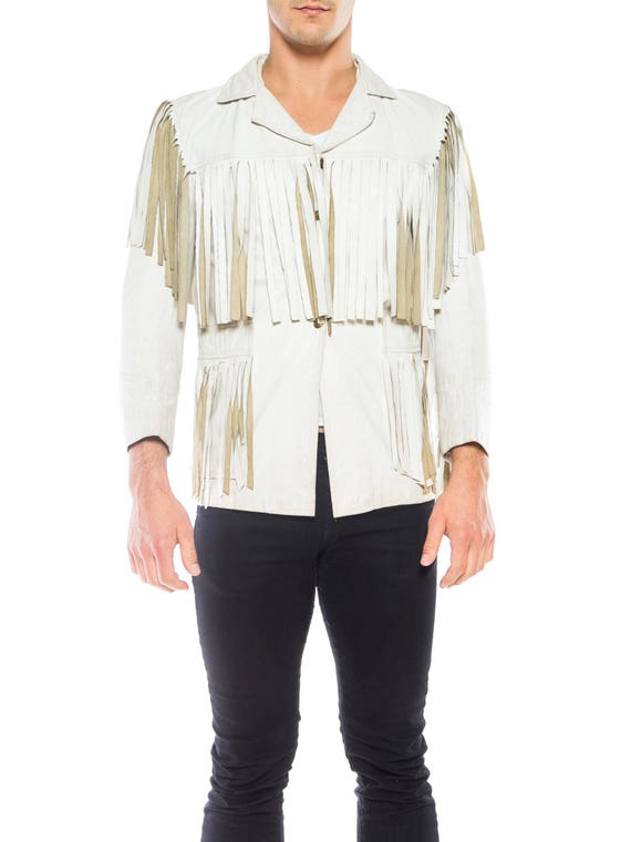 White Leather Fringe Jacket Size: