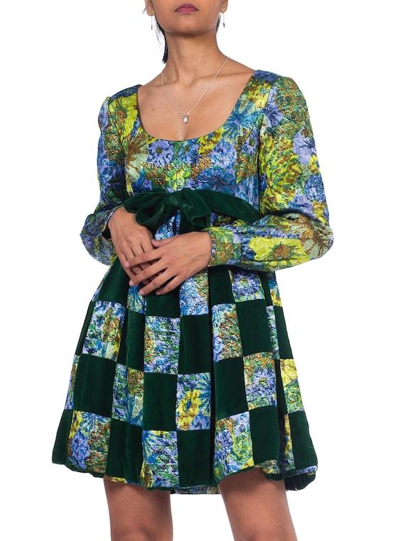 1960S MALCOLM STARR Blue & Green Rayon/Lurex Velv… - image 6