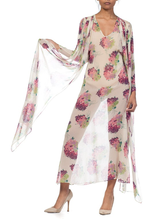 Sheer-silk 1920s Floral Chiffon Dress Size: S - image 2