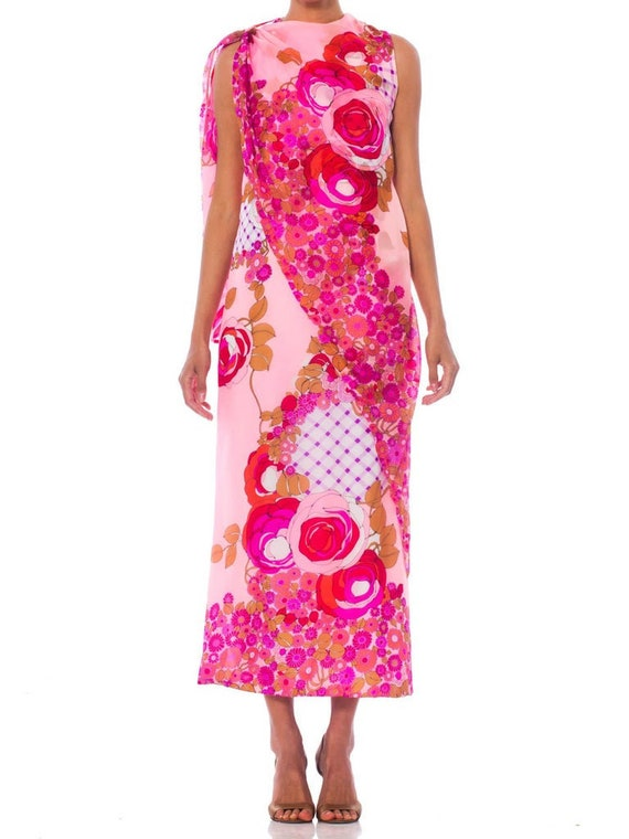 1960S Pink  Psychedelic Rose Print Polyester Chiff