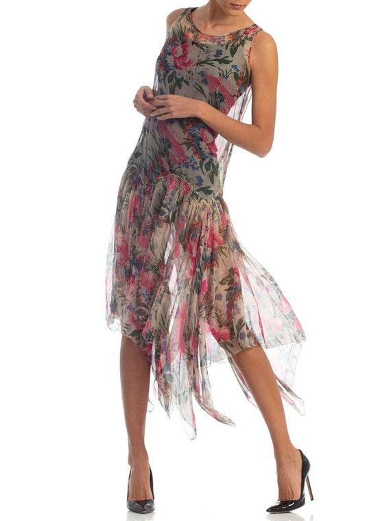 1920S Floral Silk Chiffon Summer Tea Party Dress - image 4