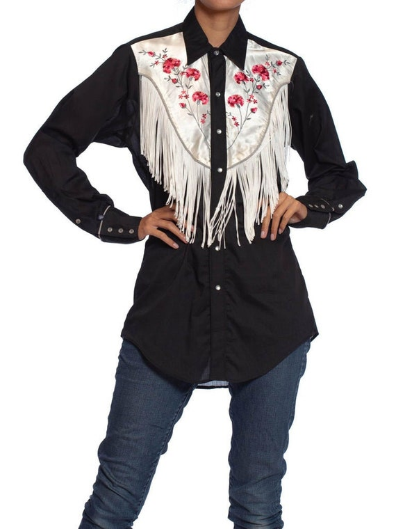 1970S Black  White Cotton Western Shirt With Fring