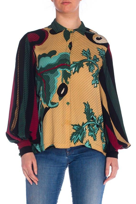 1980S MICHAELE VOLLBRACHT Silk Graphic Botanical P
