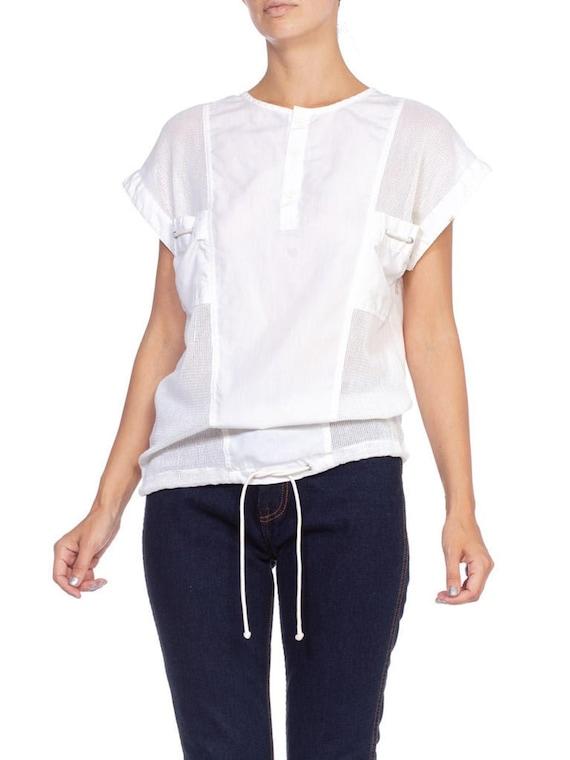 1980's Cotton And Net Mesh Shirt