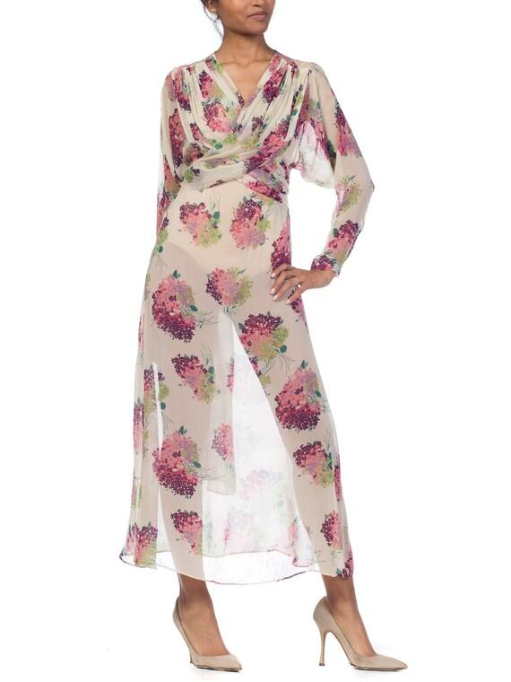 Sheer-silk 1920s Floral Chiffon Dress Size: S - image 5