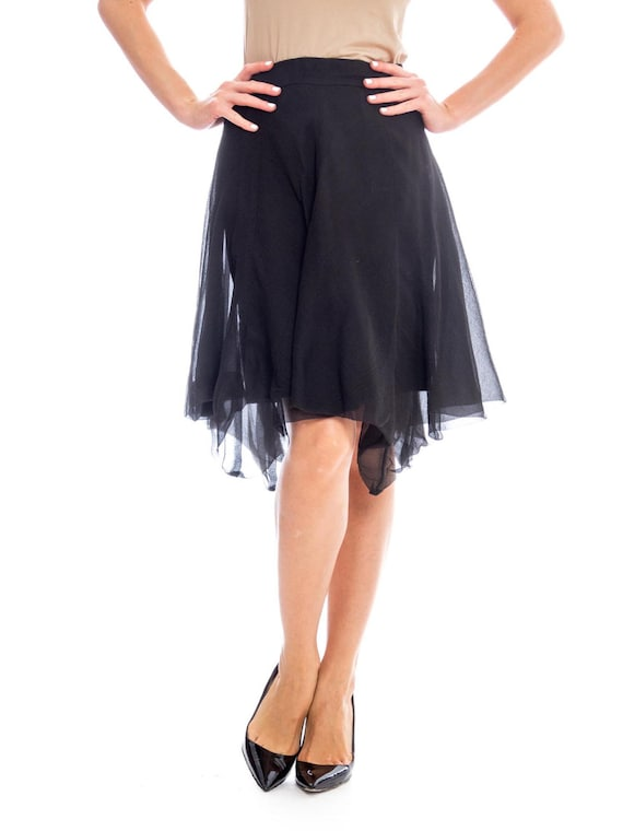 1990s Silk Chiffon Skirt Size: S