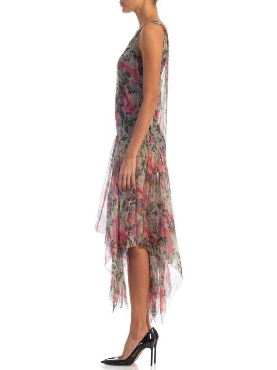 1920S Floral Silk Chiffon Summer Tea Party Dress - image 3