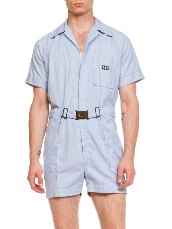 1950s-railroad Stripe Workwear Short Jumpsuit Romp