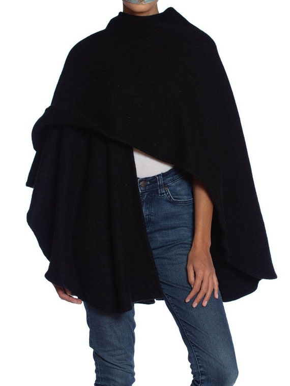 1990S Black Cashmere Knit Minimal Cape Shawl