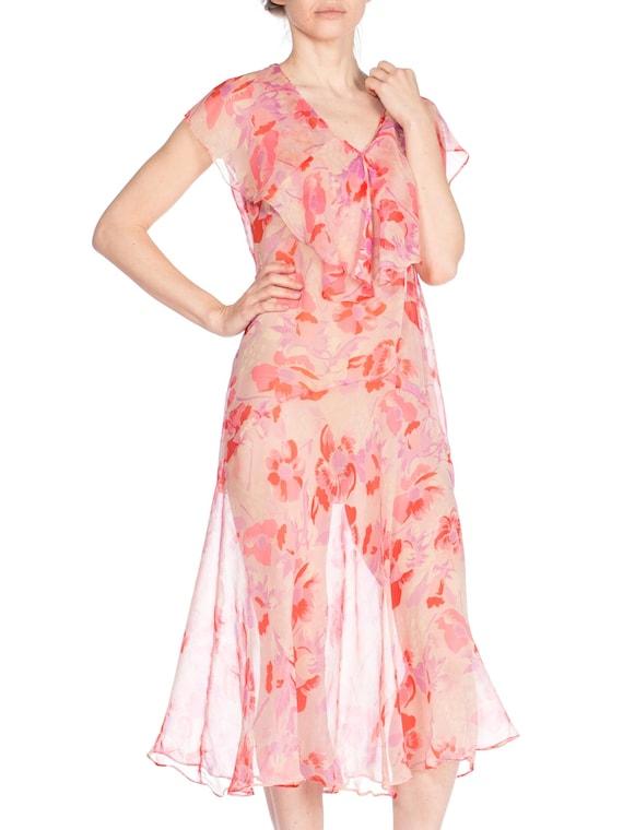 1920S Silk Chiffon Pink Floral Drop Waist Day Dre… - image 1