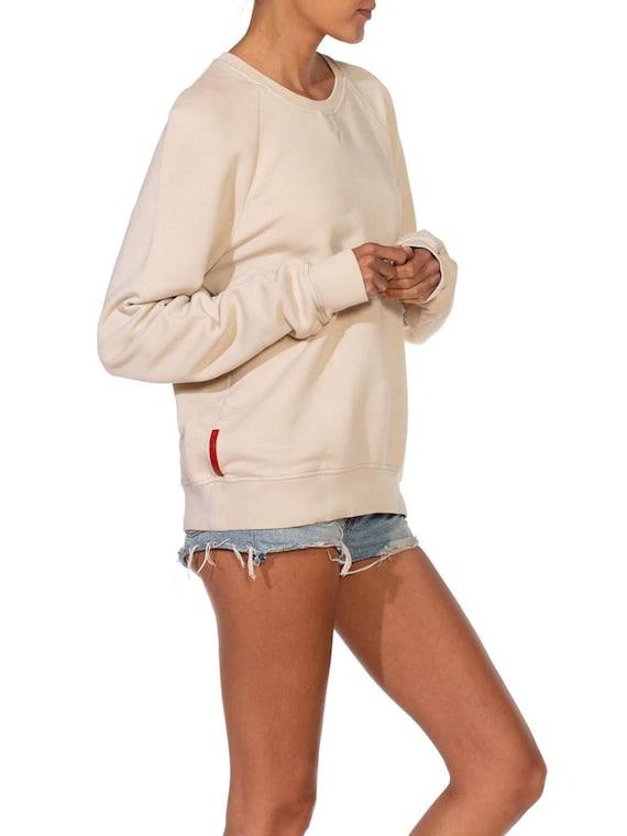 1990S Prada Cream Cotton Long Sleeve Sweatshirt S… - image 3