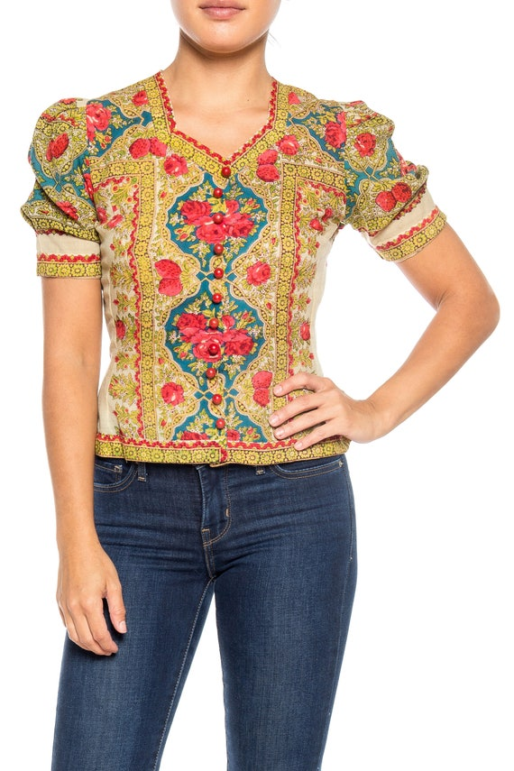 1940S Wool Challis Paisley Top With Roses And Stra